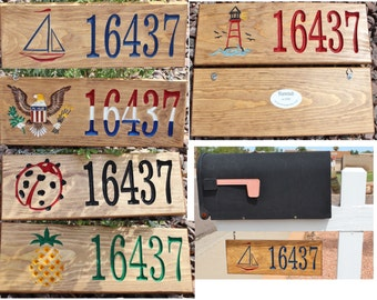 Wood Address Sign - Hand Painted Single sided or Double Sided for Mailbox