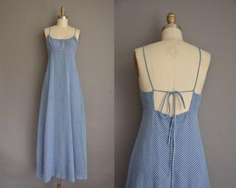 vintage 1970s dress / 70s dress / pinstripe maxi sun dress