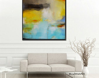 blue painting, blue print, green blue abstract painting, blue abstract art, yellow giclee print, huge painting, large print, canvas print