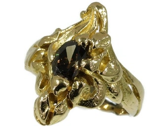 Antique Natural Diamond Gold Iris Flower Ring