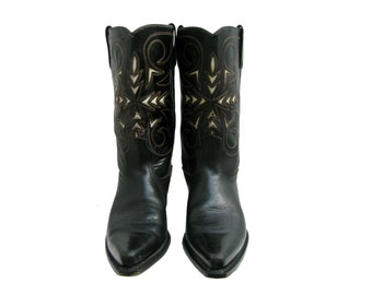 Vintage Cowboy Boots Mens Preowned Black and White Leather Inlay Western Boots Fits Mns US Size 8