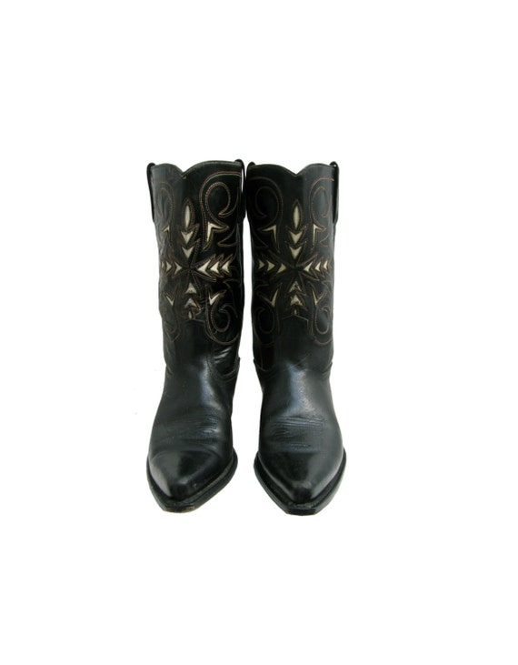 vintage cowboy boots mens preowned black and white leather