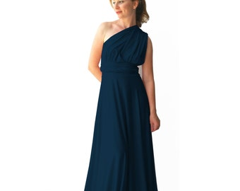 Convertible/Infinity Dress - dark sea   color  floor length with long straps Multiway Dress