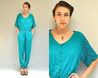 Cotton Jumpsuit  //  Womens Romper  //  LACE and LEISURE
