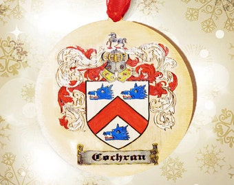 Coat of Arms Family Crest Wood Burned Personalized Ornament