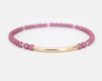 Lavender Beaded Bar Bracelet - Gold Filled or Sterling Silver - Nuelle