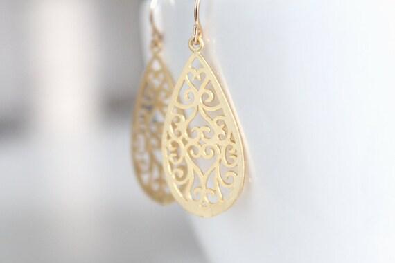 Gold Filigree Teardrop Earrings - Hidden Hearts