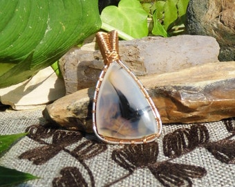 Montana Agate Wire Wrapped Gemstone Necklace Pendant