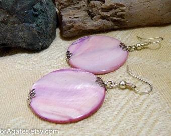Purple Mother Of Pearl Shell Silver Dangle Earrings