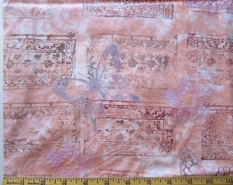fabric - peach tie dye with faux batik stamping - butterfly pattern - 33 x 44 inches