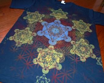 M Metatron's Cube Mandala Chakras T-Shirt Handpainted Sacred Geometry Mandala w/ Flower of Life, Honeycomb, Fractal Hexagons