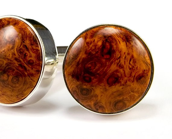 Amboyna Burl Silver Cufflinks - Wood Cuff Links