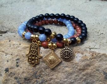 Gemstone Bracelets, Yoga Bracelets - gemstone beaded stretch bracelets in Black Onyx, Blue Lace Agate, Goldstone
