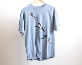 vintage 90s HORSE subtle painted horse SHORT sleeve vintage blue t-shirt