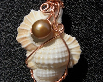Shell,  Pearl, Copper Wire Wrapped Pendant