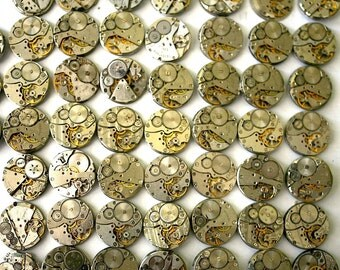 Vintage Soviet Watch Movements - Set of 106 Mechanisms Movements from Mens Wrist Watches - from Russia Soviet Union USSR