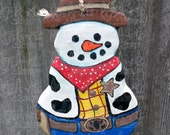 OOAK - Cowboy Snowman Ornament 50 PERCENT is Donated to St. Jude's