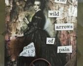 Real Pain Gothic Depressing Dark Art ACEO  Artist Trading Card Alteredhead On Etsy Artwork ATC Original Handmade Design On Etsy Artwork