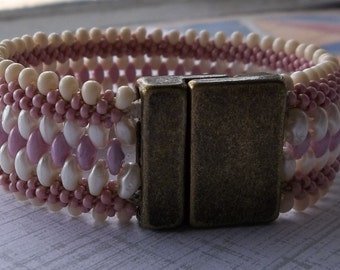 Pink and Cream Kumihimo and Woven Bead Cuff Bracelet