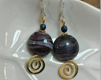 Gold and Purple Swirl Sterling Silver Dangle Earrings, Purple Gold Swirl Dangle Sterling Silver Earrings