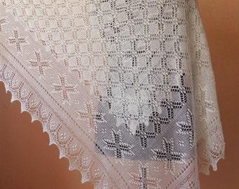 Haapsalu scarf- large hand knitted square estonian lace shawl, wedding shawl, eight point star  pattern- CUSTOM MADE