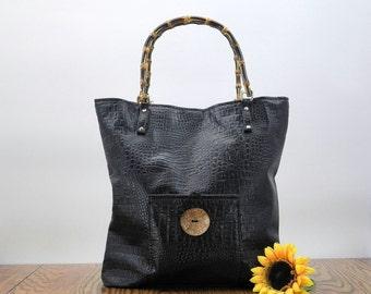 Black Vegan Tote, Black Faux Leather Bag, Black Vegan Leather Purse, Big Black Bag, Womens Tote Bag, Large Black Purse