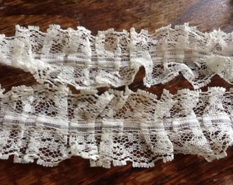 Vintage White Lace Ruffle Trim Edging Ribbon Retro