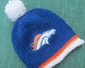 DENVER Bronocos Hand Knit Baby Hat - Football Baby Hat - Hand Knitted Baby Hat