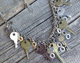 vintage repurposed key assemblage necklace | statement | upcycled | terryville necklace