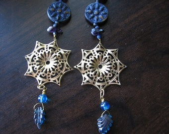 Long dangle earrings | blue and gold | compass rose | sun
