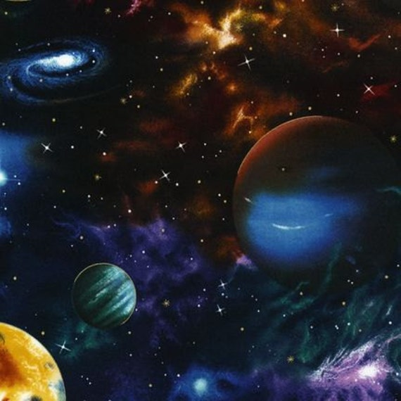 Outer space planet fabric robert kaufman 1 yard for Fabric planets solar system