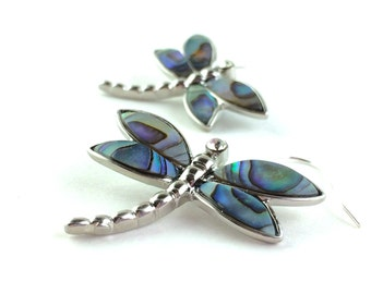Dragonfly Jewelry - Abalone Earrings - Dragonfly Earrings - Mother of Pearl Earrings - Sterling Silver Dragon Fly Earrings - Nature Jewelry