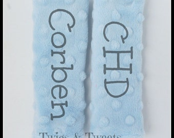 Personalized Car Seat Strap Covers- YOU CHOOSE COLORS- Baby Blue monogram car seat straps