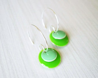 Enamel Jewelry, Mint Earrings, Silver Hoops, Lime Green, Modern, Geometric, Simple, Colorful