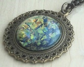 Victorian Opal Jewelry Glass Cabochon on Antique Brass Pendant Gift for Wife for Anniversary