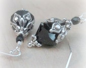 Gothic Jewelry Swarovski Black Crystal Earrings Romantic Gothic Wiccan Valentines Day