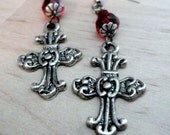Gothic Jewelry Victorian Cross Earrings Red and Black Czech Glass Beads Gifts for Women Gifts Under 20