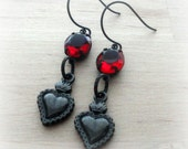 Gothic Earrings Black Heart Jewelry Heart Earrings Gothic Jewelry Teen Girl Girlfriend Gift Valentine Girlfriend Valentine Gift Wife
