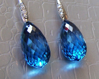 Luxury Swiss Blue Topaz Sterling Earrings - Elegant Statement