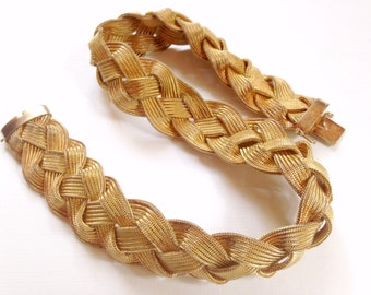 Wide Gold Braided Necklace
