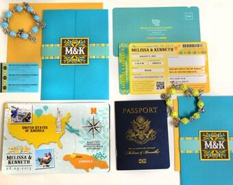 The Melissa Jamaican Wedding Passport and Boarding Pass Style Invitation