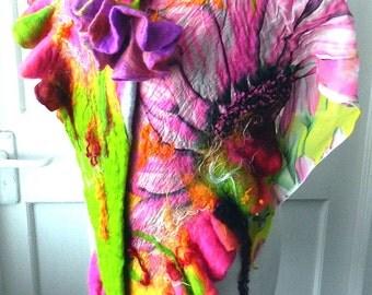 Felted Scarf Nunofelt 100% wool and silk Shawl -FLOWERS-3