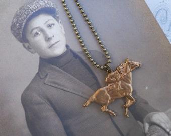 vintage necklace / brass necklace / horse necklace / BRASS JOCKEY NECKLACE