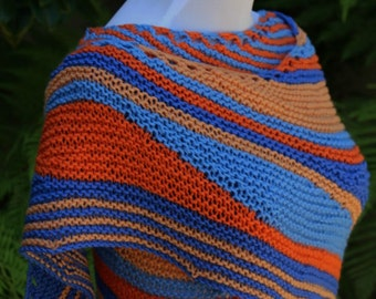 Pattern Only The Newporter Asymmetrical Striped Shawlette or Shawl