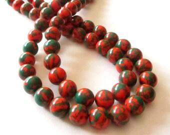 """Green Orange Round Beads - Phoenix Stone Round Beads - Smooth Ball Round Gemstone - 10mm - 16"""" Strand - Halloween Seasonal - DIY Jewelry"""