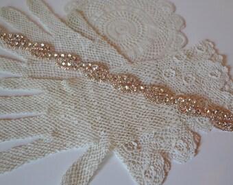 Rose Gold Bridesmaid Belt, Rose Gold Wedding Belt, Rhinestone Bridal Sash, Downton Abbey, Rhinestone Bridal Belt, Sparkly Gold Sash