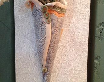 Wall pocket vase/blue/wall vase/vase/ceramic vase/pottery vase/pocket vase/wall hanging