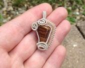 Wire wrapped stone pendant - silver - copper - coils