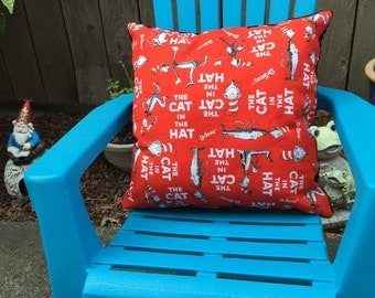 "Cat in the Hat Pillow 14""x14"""