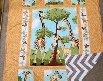 "Giraffe Baby Blanket With Minky Back 33""X38"""